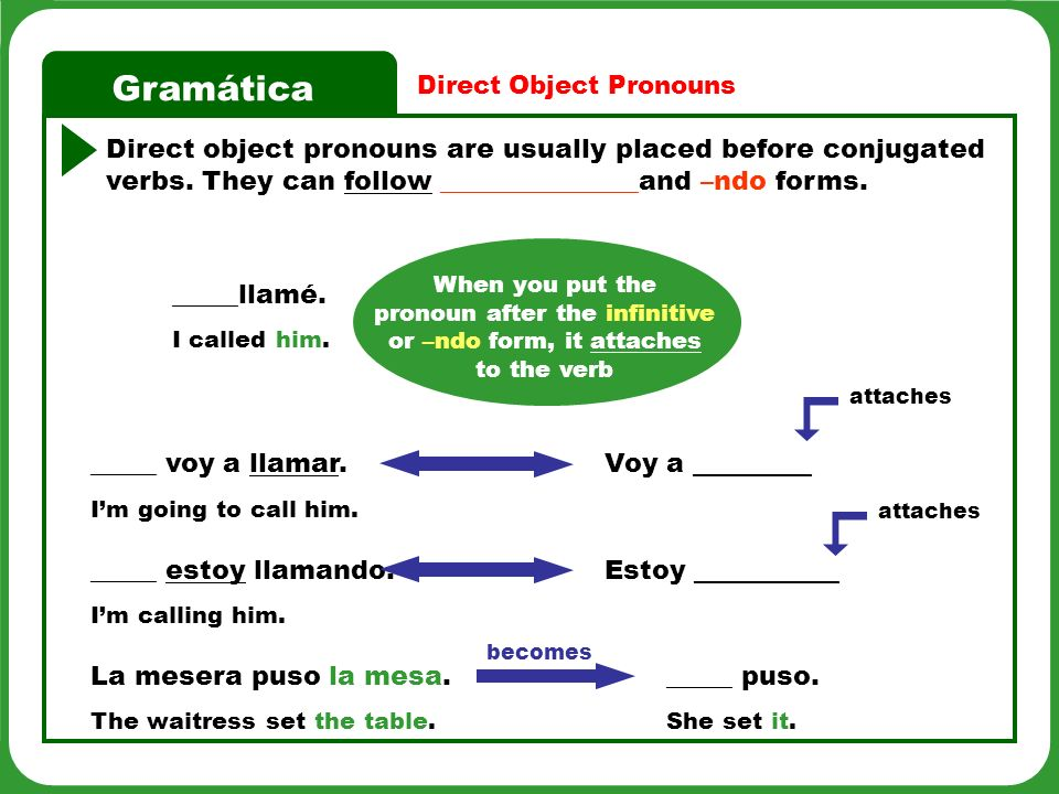 Gramática Direct Object Pronouns Direct object pronouns are usually placed before conjugated verbs. They can follow _______________and –ndo forms. Est