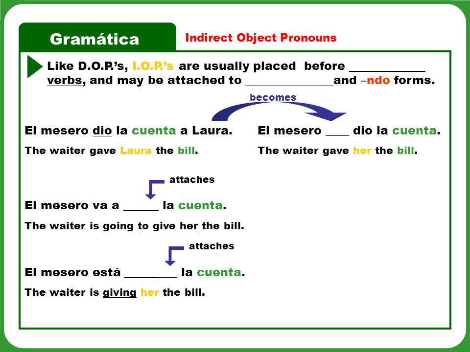 Gramática DO PronounsIO PronounsEnglish Equivalent me you (familiar) him, her, it, you (formal) us os you-all (familiar) them, you-all (formal)