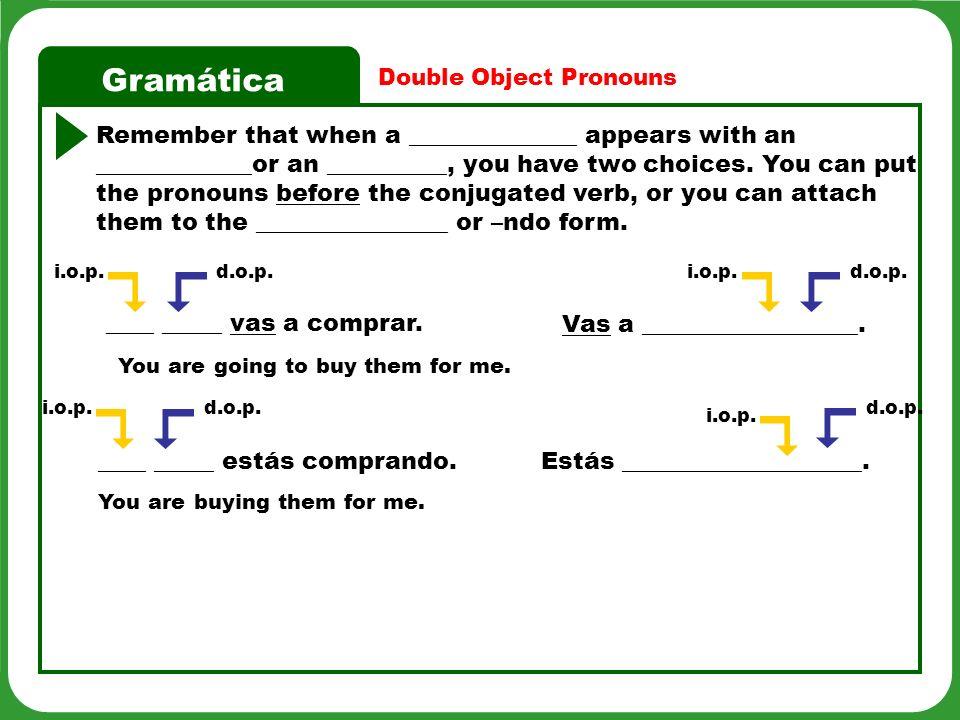 Gramática Double object pronoun replacements.