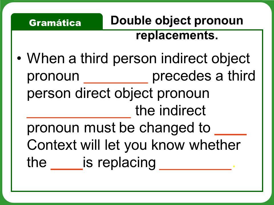 Gramática Whenever both pronouns begin with the letter l change the first pronoun to se. le lo = ______ le la = se la _______ = se los le las = ________ les lo = ________ les la = se la __________ = se los les las =_________