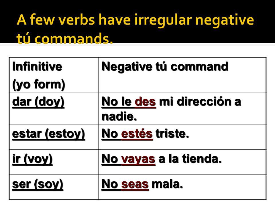 Infinitive (yo form) Negative tú command dar (doy) No le des mi dirección a nadie.