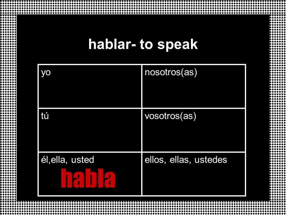 yonosotros(as) túvosotros(as) él,ella, ustedellos, ellas, ustedes hablar- to speak habla