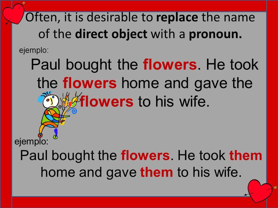 Direct Object Pronouns yo me nos nosotros(as) us tú you (familiar) teos vosotros you (familiar) el, ella, usted him, it (m.) her, it (f.) you (m/f formal) lo/lalos/las ellos, ellas, ustedes them (m.) them (f.) you (m/f.