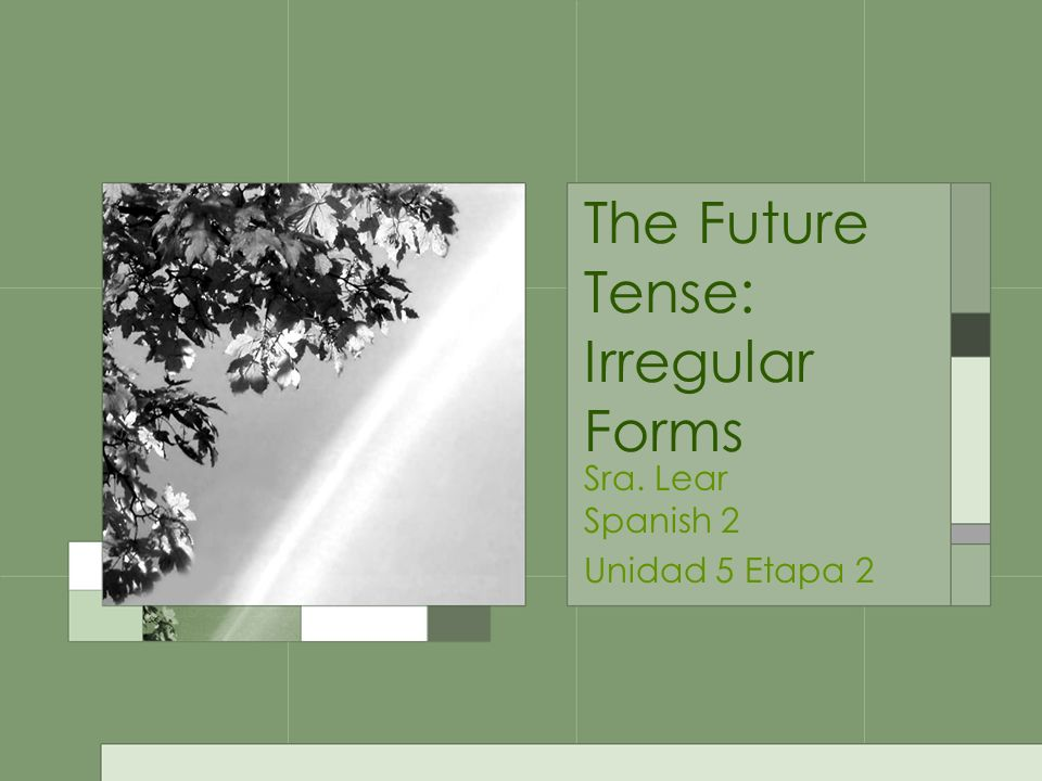 The Future Tense: Irregular Forms Sra. Lear Spanish 2 Unidad 5 Etapa 2