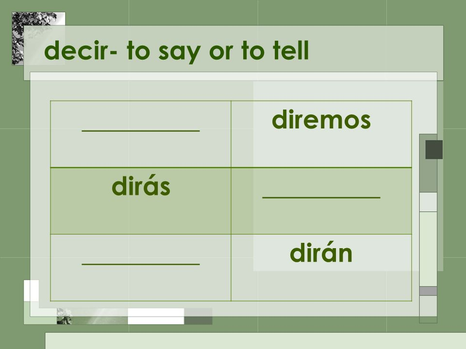 decir- to say or to tell _________diremos dirás_________ dirán