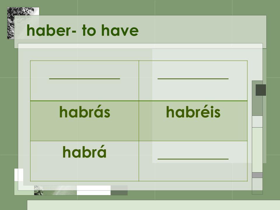 haber- to have _________ habráshabréis habrá_________