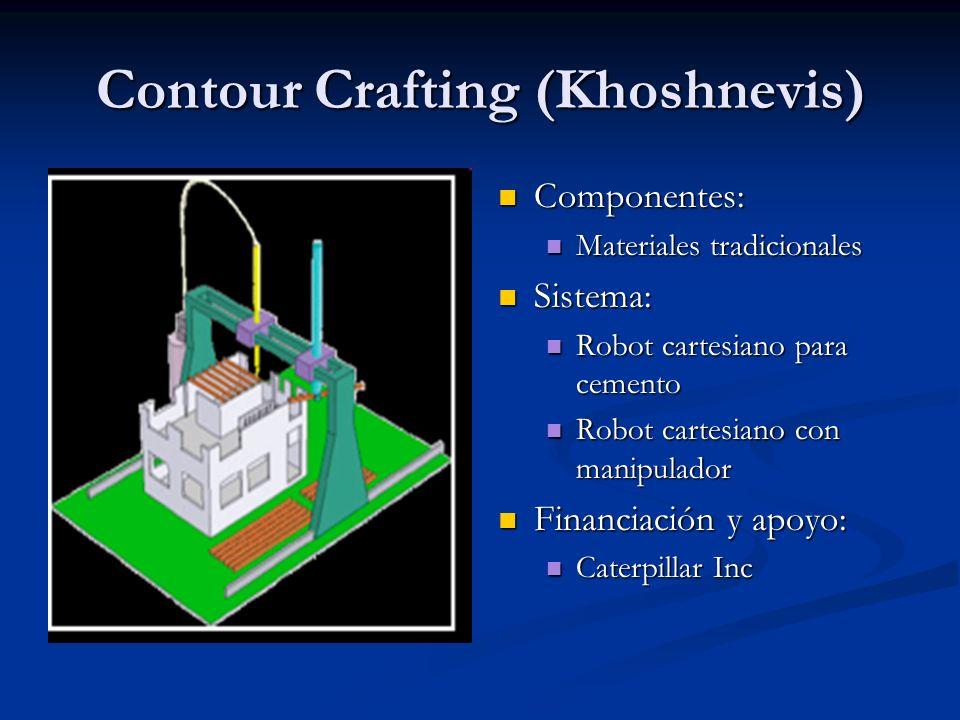 Contour Crafting (Khoshnevis) Componentes: Materiales tradicionales Sistema: Robot cartesiano para cemento Robot cartesiano con manipulador Financiaci