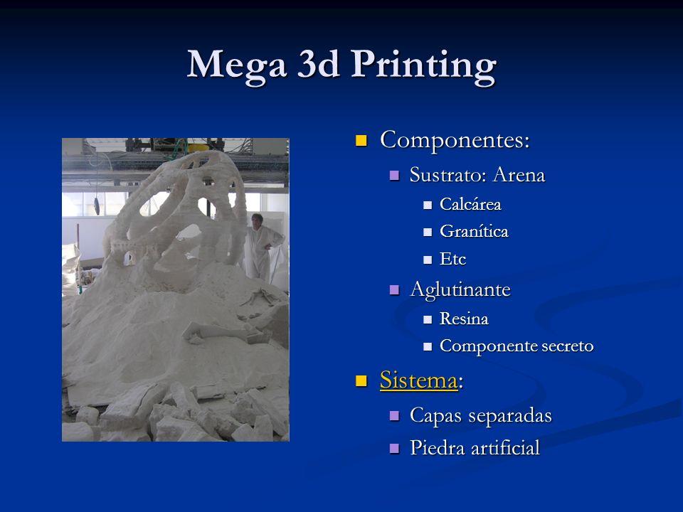 Mega 3d Printing Componentes: Sustrato: Arena Calcárea Granítica Etc Aglutinante Resina Componente secreto Sistema: Sistema Capas separadas Piedra art