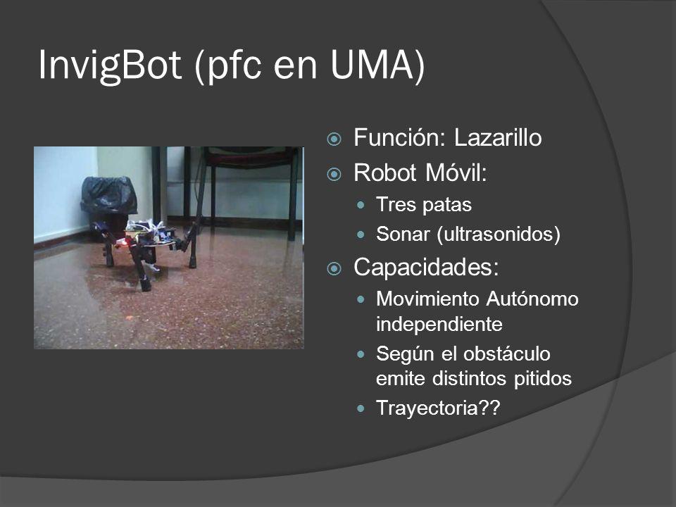 InvigBot (pfc en UMA) Función: Lazarillo Robot Móvil: Tres patas Sonar (ultrasonidos) Capacidades: Movimiento Autónomo independiente Según el obstácul