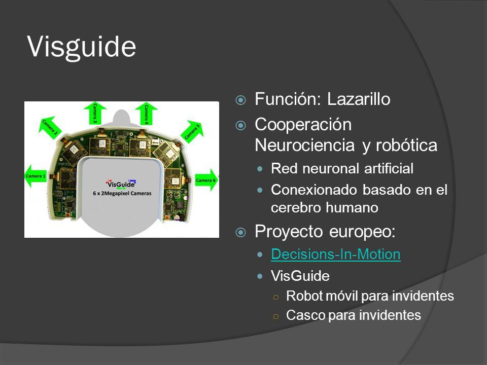 Visguide Función: Lazarillo Cooperación Neurociencia y robótica Red neuronal artificial Conexionado basado en el cerebro humano Proyecto europeo: Deci