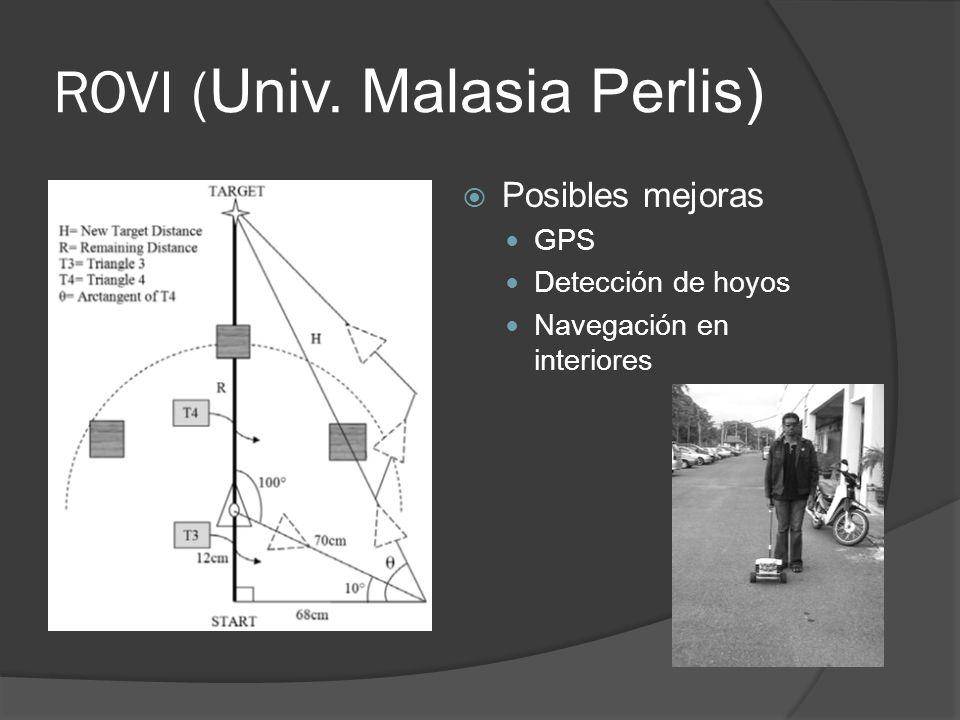 ROVI ( Univ. Malasia Perlis) Posibles mejoras GPS Detección de hoyos Navegación en interiores