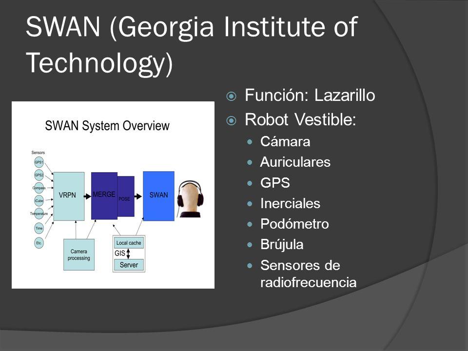 SWAN (Georgia Institute of Technology) Función: Lazarillo Robot Vestible: Cámara Auriculares GPS Inerciales Podómetro Brújula Sensores de radiofrecuen