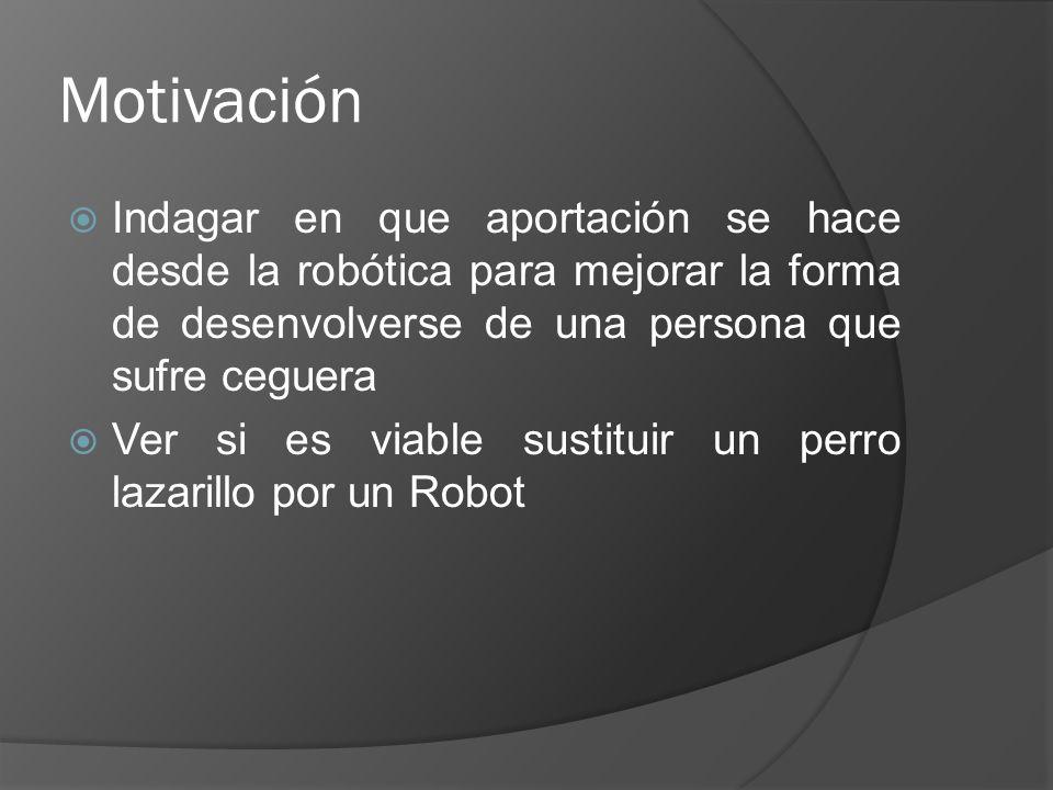 Objetivos Buscar y estudiar distintos Robots dirigidos a mejorar la calidad de vida de las personas ciegas Analizar las distintas líneas de trabajo que se han seguido en los últimos años Dar nuestra opinión personal sobre estos dispositivos
