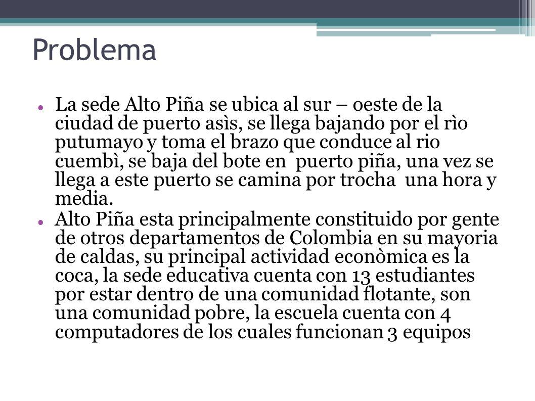 Problema La sede Alto Piña se ubica al sur – oeste de la ciudad de puerto asìs, se llega bajando por el rìo putumayo y toma el brazo que conduce al ri