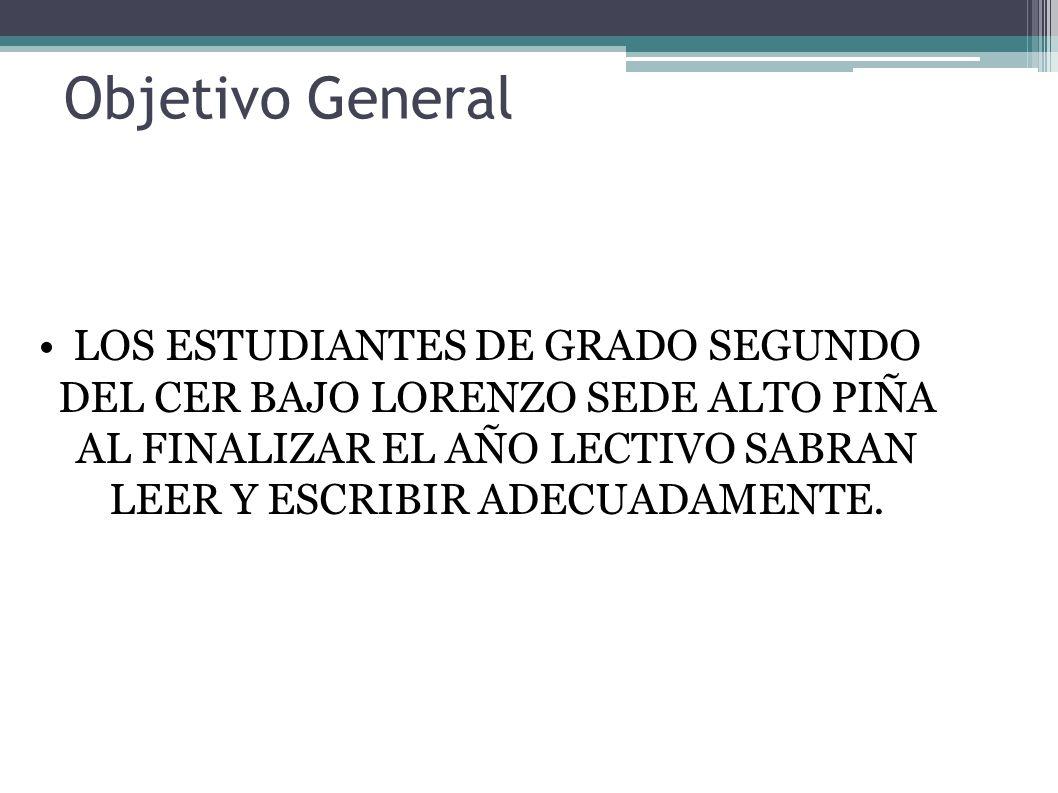 Objetivo General LOS ESTUDIANTES DE GRADO SEGUNDO DEL CER BAJO LORENZO SEDE ALTO PIÑA AL FINALIZAR EL AÑO LECTIVO SABRAN LEER Y ESCRIBIR ADECUADAMENTE