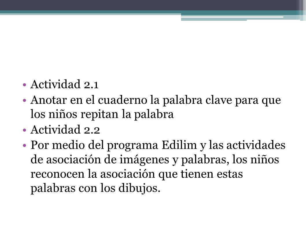 Actividad 2.1 Anotar en el cuaderno la palabra clave para que los niños repitan la palabra Actividad 2.2 Por medio del programa Edilim y las actividad