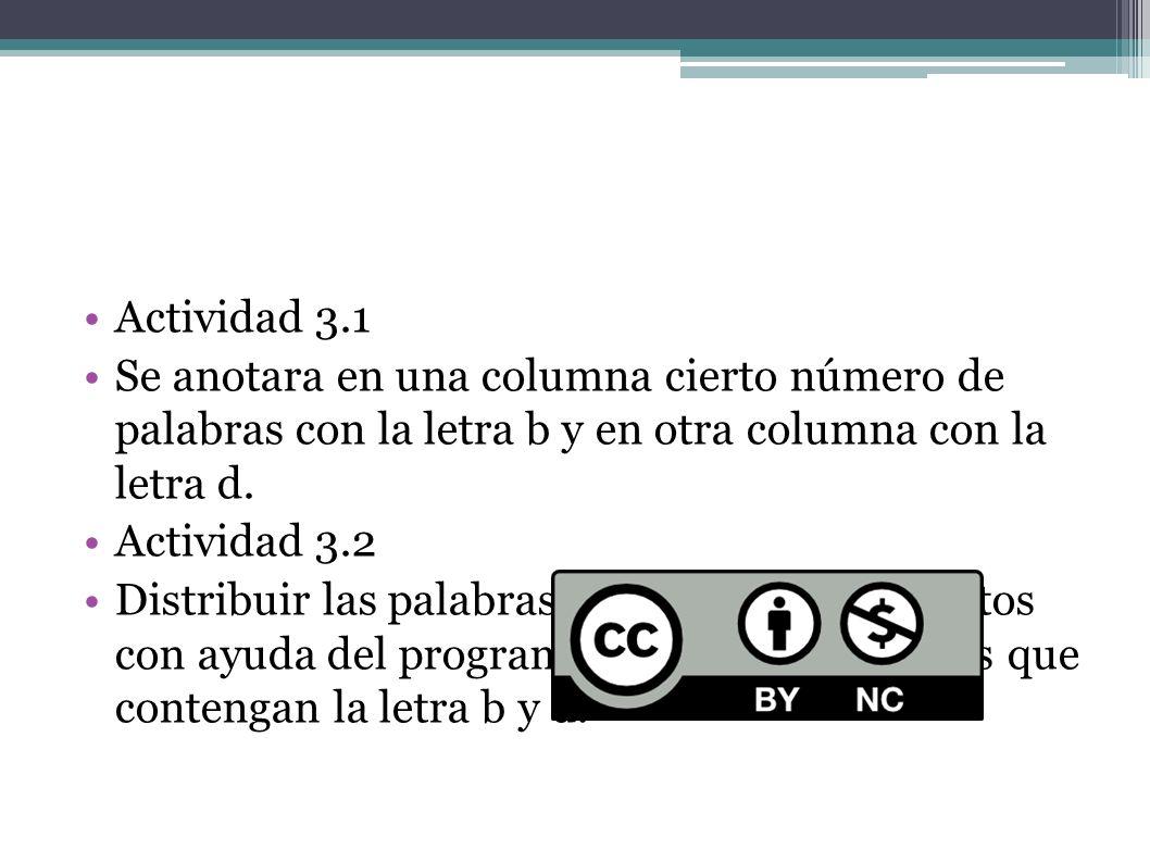 Actividad 3.1 Se anotara en una columna cierto número de palabras con la letra b y en otra columna con la letra d. Actividad 3.2 Distribuir las palabr