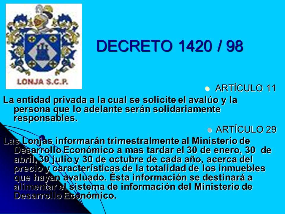 DECRETO 1420 / 98 ARTÍCULO 11 ARTÍCULO 11 La entidad privada a la cual se solicite el avalúo y la persona que lo adelante serán solidariamente respons