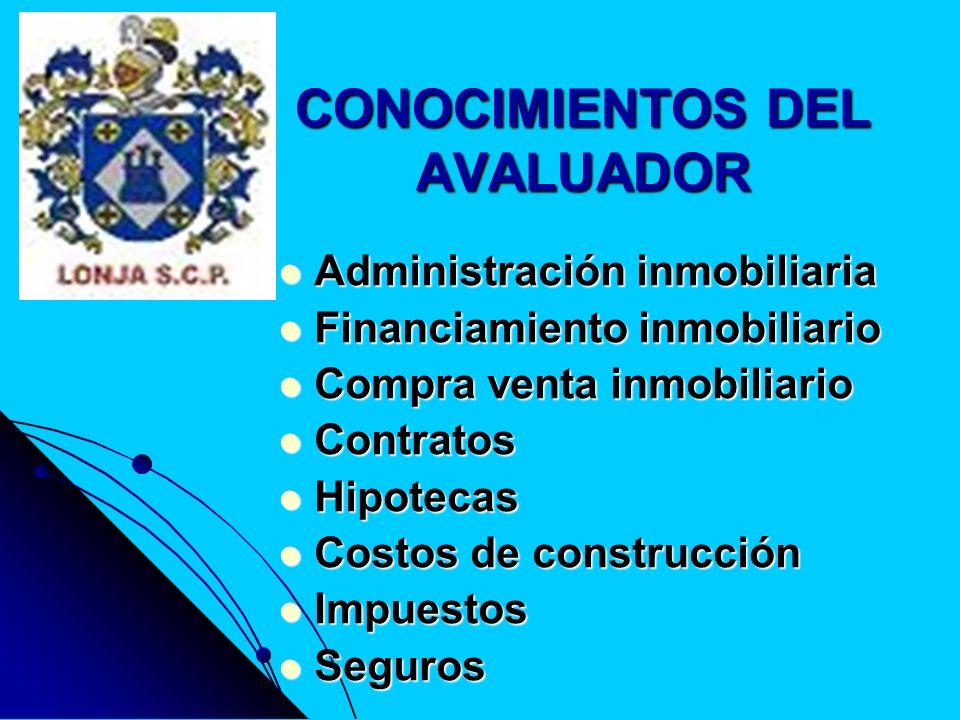 CONOCIMIENTOS DEL AVALUADOR Administración inmobiliaria Administración inmobiliaria Financiamiento inmobiliario Financiamiento inmobiliario Compra ven