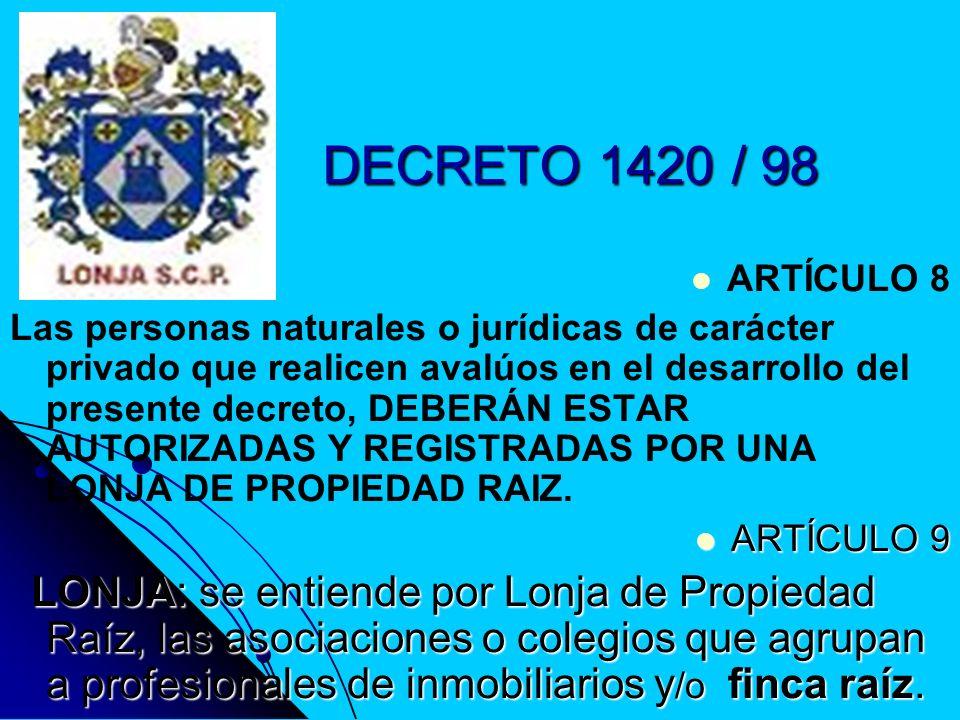 DECRETO 1420 / 98 ARTÍCULO 10 ARTÍCULO 10 Las Lonjas de Propiedad Raíz interesadas en que los avaluadores que tienen afiliados realicen avalúos, elaborarán un sistema de registro y de acreditación de los avaluadores.