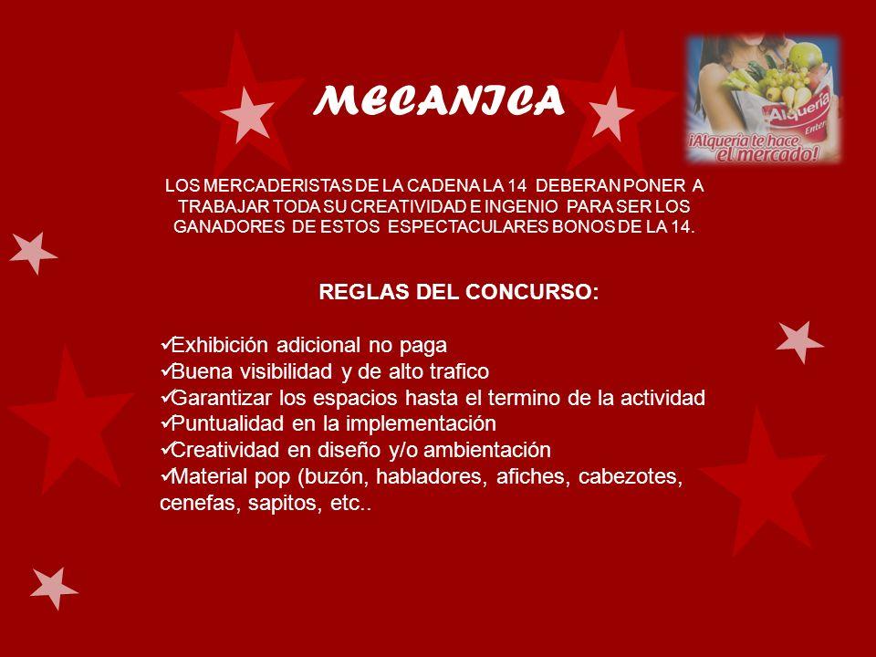 MECANICA LOS MERCADERISTAS DE LA CADENA LA 14 DEBERAN PONER A TRABAJAR TODA SU CREATIVIDAD E INGENIO PARA SER LOS GANADORES DE ESTOS ESPECTACULARES BO