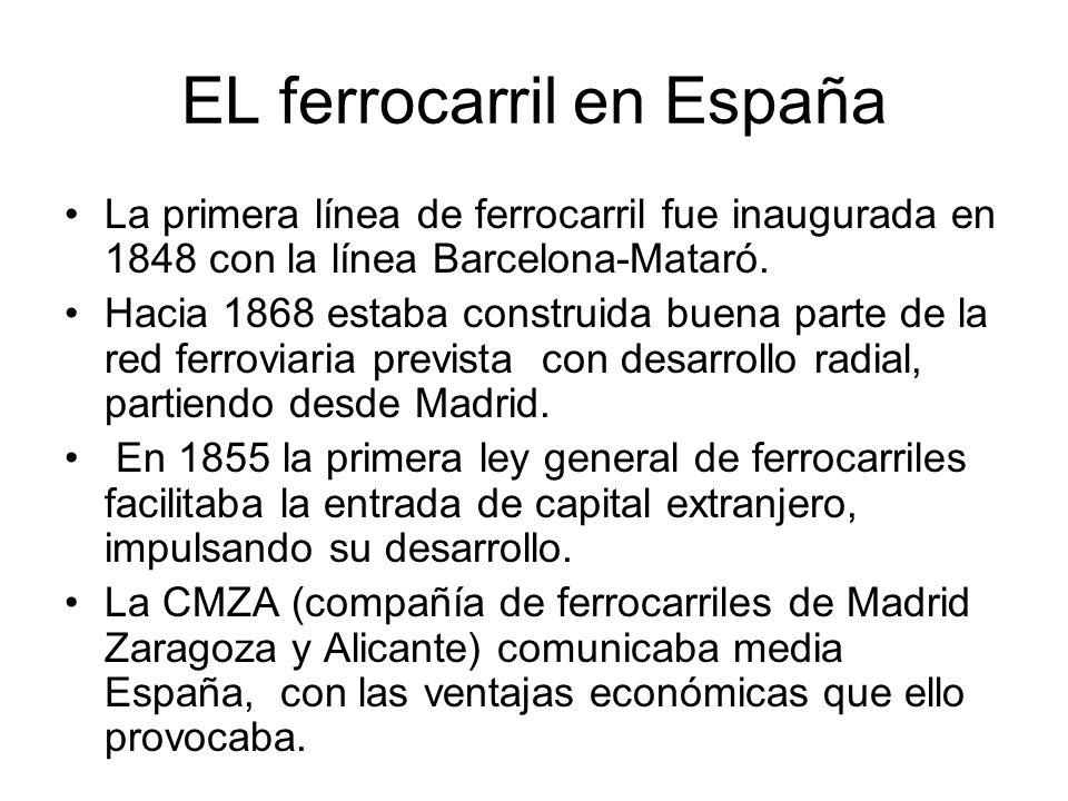 EL ferrocarril en España La primera línea de ferrocarril fue inaugurada en 1848 con la línea Barcelona-Mataró. Hacia 1868 estaba construida buena part