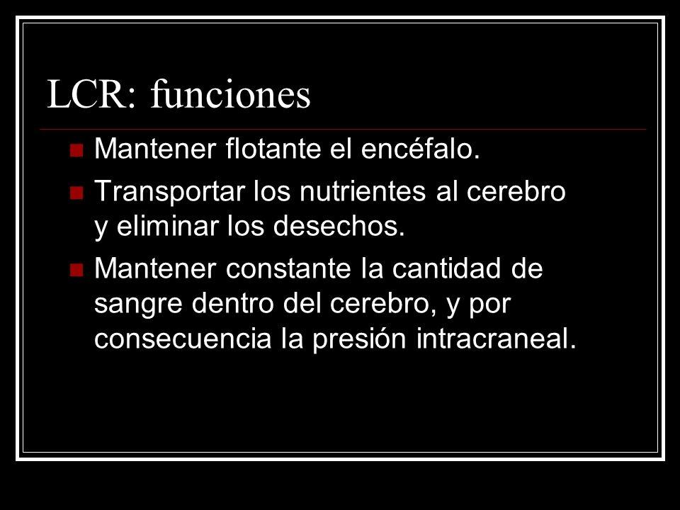 LCR: funciones Mantener flotante el encéfalo. Transportar los nutrientes al cerebro y eliminar los desechos. Mantener constante la cantidad de sangre