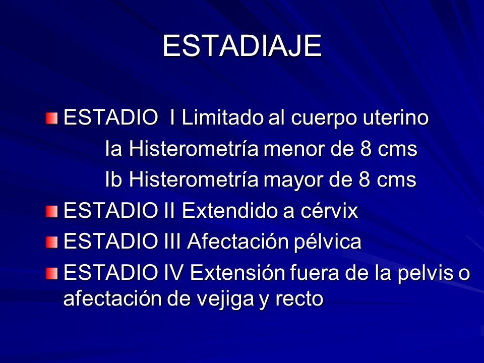 ESTADIAJE ESTADIO I Limitado al cuerpo uterino Ia Histerometría menor de 8 cms Ia Histerometría menor de 8 cms Ib Histerometría mayor de 8 cms Ib Hist