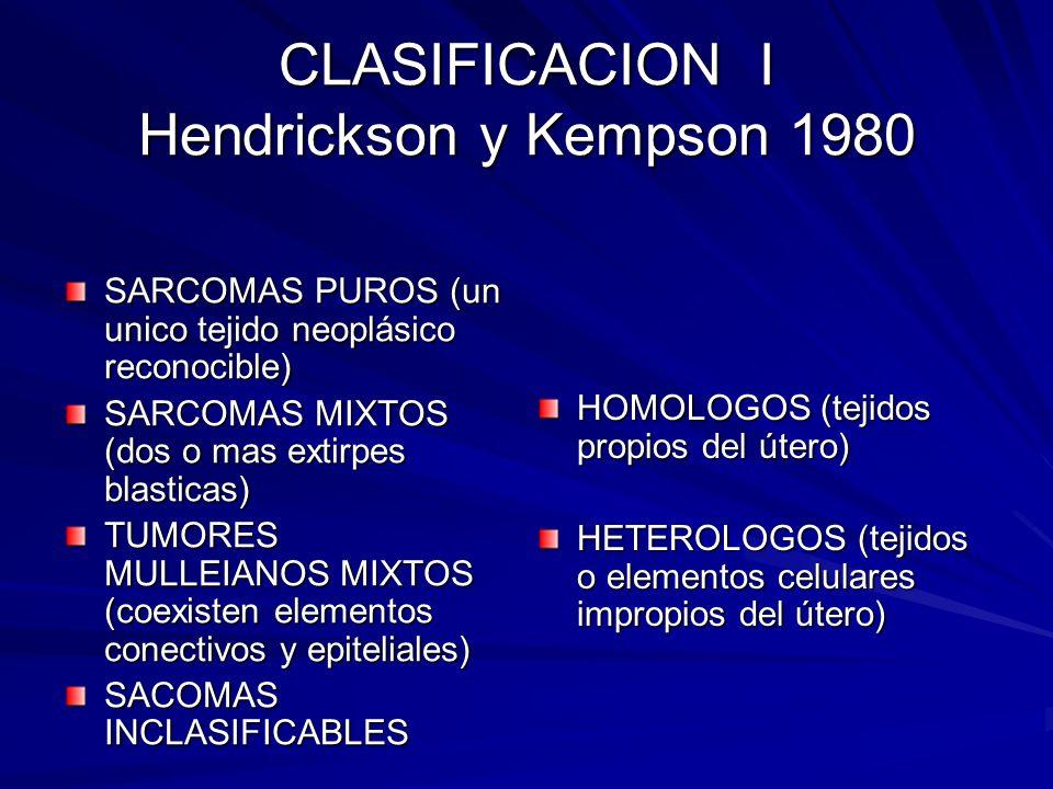 CLASIFICACION II SARCOMAS PUROS HOMOLOGOS PUROS Leiomiosarcoma Leiomiosarcoma Tumores del estroma endometrial Tumores del estroma endometrial Sarcomas del estroma endometrial Sarcomas del estroma endometrial Miosis estromatica endolinfática Miosis estromatica endolinfática Angiosarcoma Angiosarcoma Fibrosarcoma Fibrosarcoma HETEROLOGOS PUROS Rabdomiosarcoma Rabdomiosarcoma Condrosarcoma Condrosarcoma Osteosarcoma Osteosarcoma Liposarcoma Liposarcoma