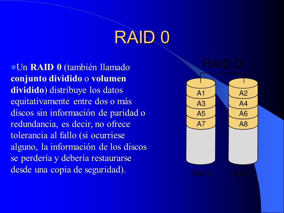 RAID 0 Un RAID 0 (también llamado conjunto dividido o volumen dividido) distribuye los datos equitativamente entre dos o más discos sin información de