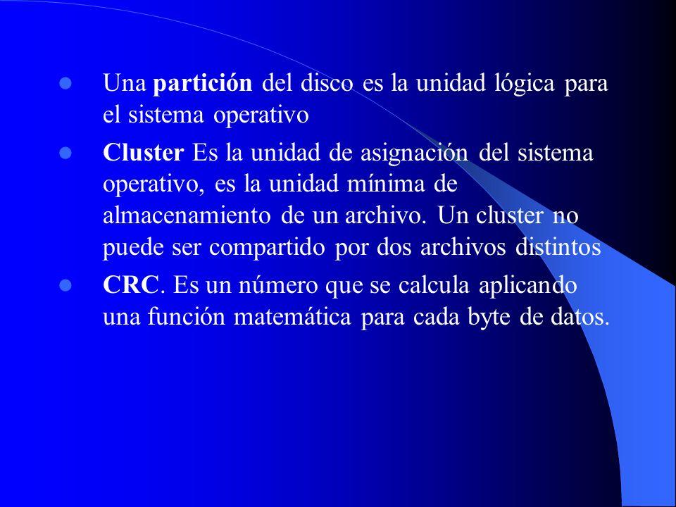Una partición del disco es la unidad lógica para el sistema operativo Cluster Es la unidad de asignación del sistema operativo, es la unidad mínima de