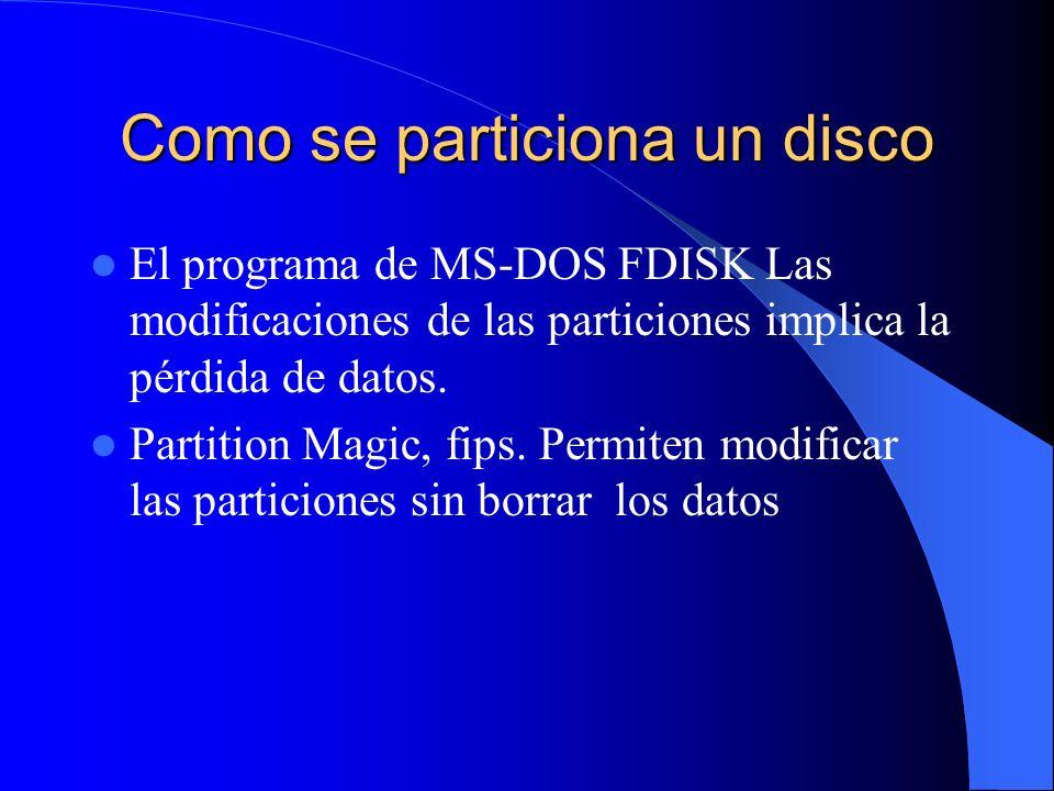 Como se particiona un disco El programa de MS-DOS FDISK Las modificaciones de las particiones implica la pérdida de datos. Partition Magic, fips. Perm