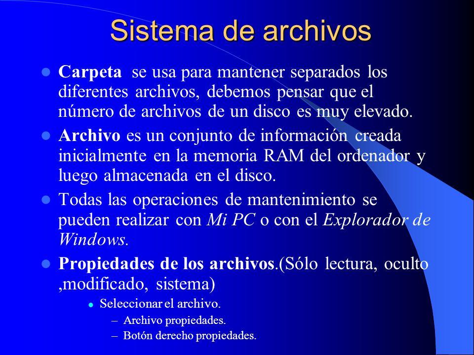 Sistema de archivos Sistema de archivos Carpeta se usa para mantener separados los diferentes archivos, debemos pensar que el número de archivos de un