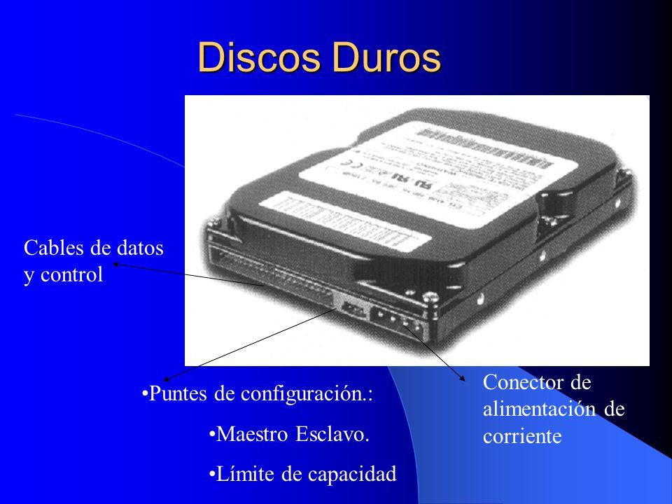 Discos Duros Conector de alimentación de corriente Puntes de configuración.: Maestro Esclavo. Límite de capacidad Cables de datos y control