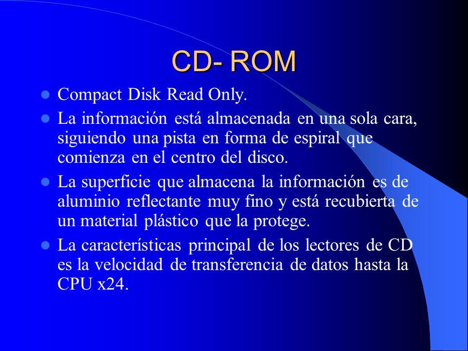 CD- ROM Compact Disk Read Only. La información está almacenada en una sola cara, siguiendo una pista en forma de espiral que comienza en el centro del