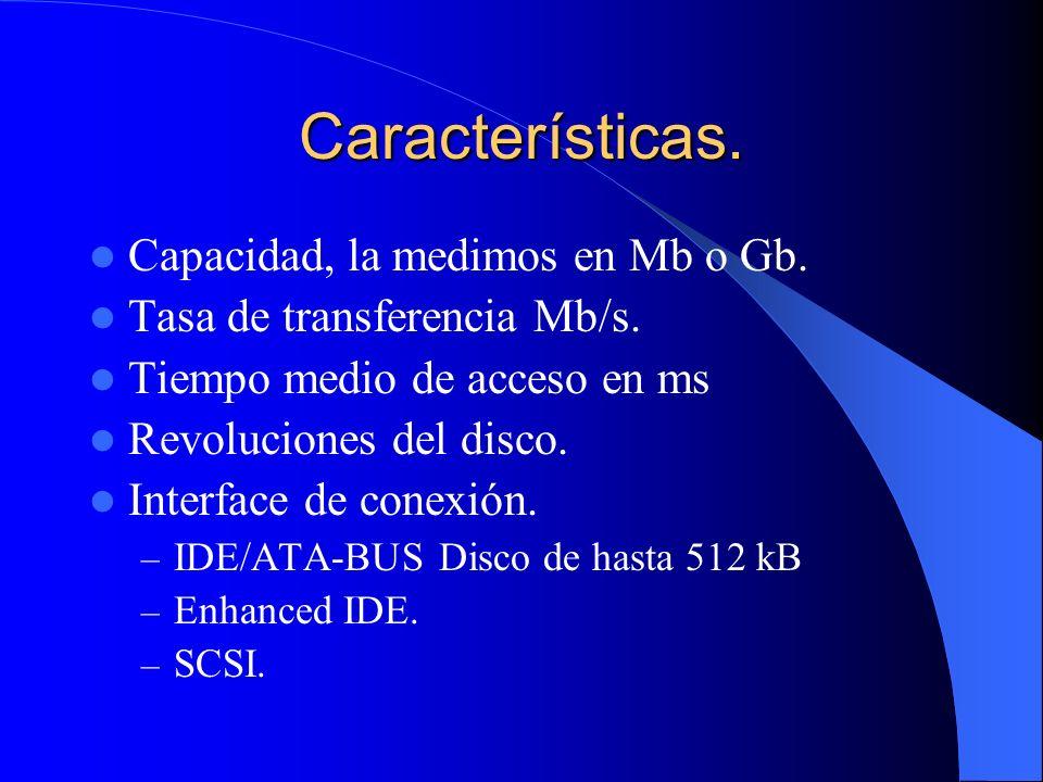 Características. Capacidad, la medimos en Mb o Gb. Tasa de transferencia Mb/s. Tiempo medio de acceso en ms Revoluciones del disco. Interface de conex