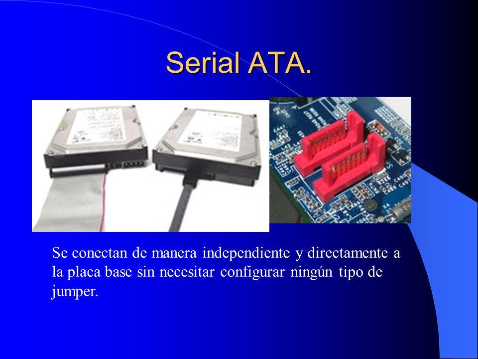 Serial ATA. Se conectan de manera independiente y directamente a la placa base sin necesitar configurar ningún tipo de jumper.