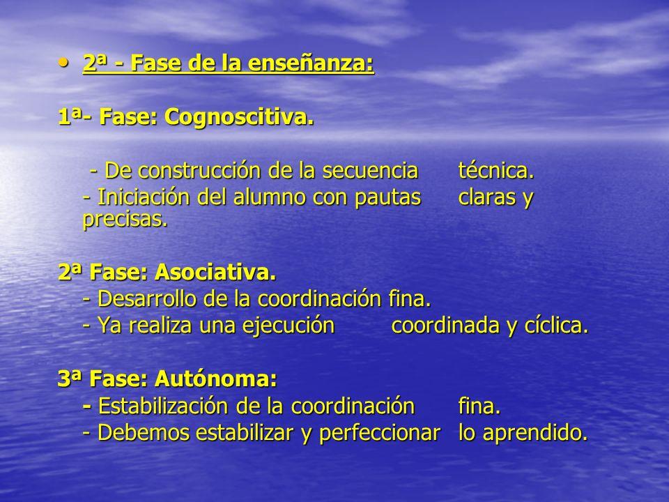 2ª - Fase de la enseñanza: 2ª - Fase de la enseñanza: 1ª- Fase: Cognoscitiva. - De construcción de la secuencia técnica. - De construcción de la secue