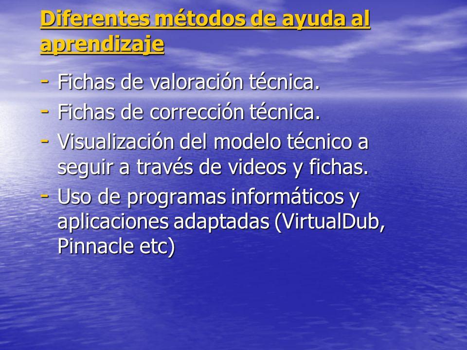 Diferentes métodos de ayuda al aprendizaje - Fichas de valoración técnica. - Fichas de corrección técnica. - Visualización del modelo técnico a seguir