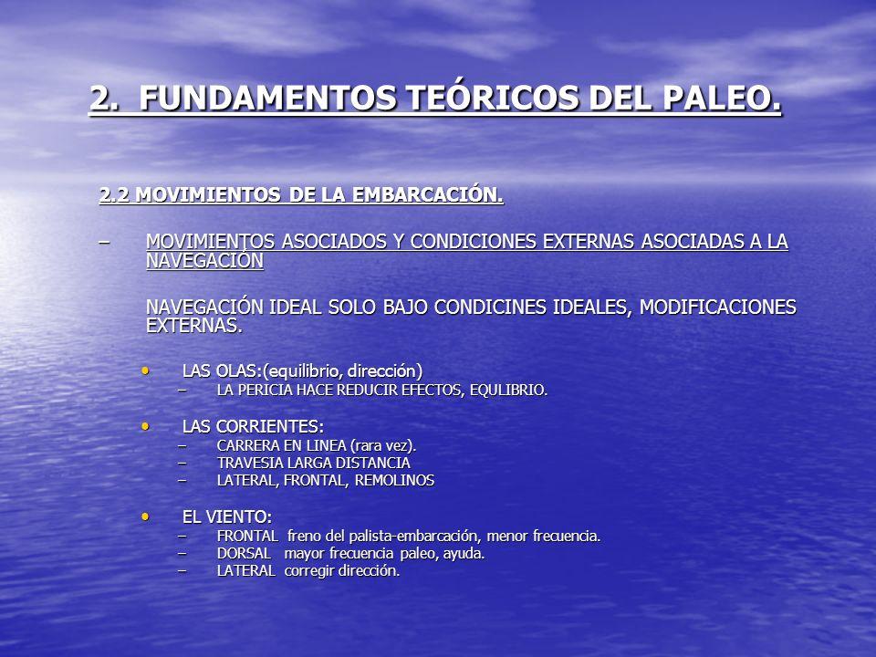 2. FUNDAMENTOS TEÓRICOS DEL PALEO. 2.2 MOVIMIENTOS DE LA EMBARCACIÓN. –MOVIMIENTOS ASOCIADOS Y CONDICIONES EXTERNAS ASOCIADAS A LA NAVEGACIÓN NAVEGACI