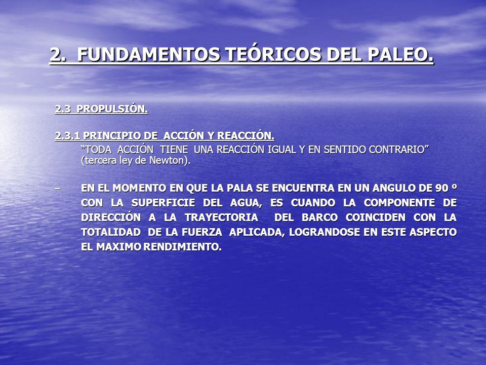 2. FUNDAMENTOS TEÓRICOS DEL PALEO. 2.3 PROPULSIÓN. 2.3.1 PRINCIPIO DE ACCIÓN Y REACCIÓN. TODA ACCIÓN TIENE UNA REACCIÓN IGUAL Y EN SENTIDO CONTRARIO (