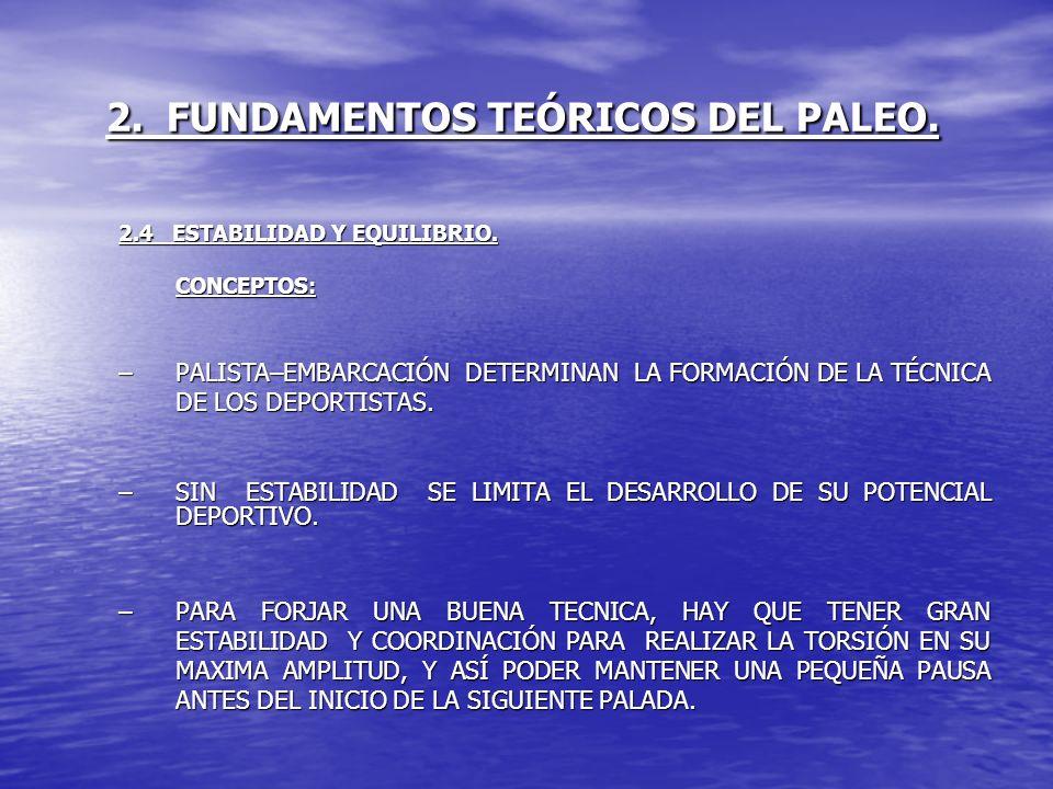 2. FUNDAMENTOS TEÓRICOS DEL PALEO. 2.4 ESTABILIDAD Y EQUILIBRIO. CONCEPTOS: –PALISTA–EMBARCACIÓN DETERMINAN LA FORMACIÓN DE LA TÉCNICA DE LOS DEPORTIS