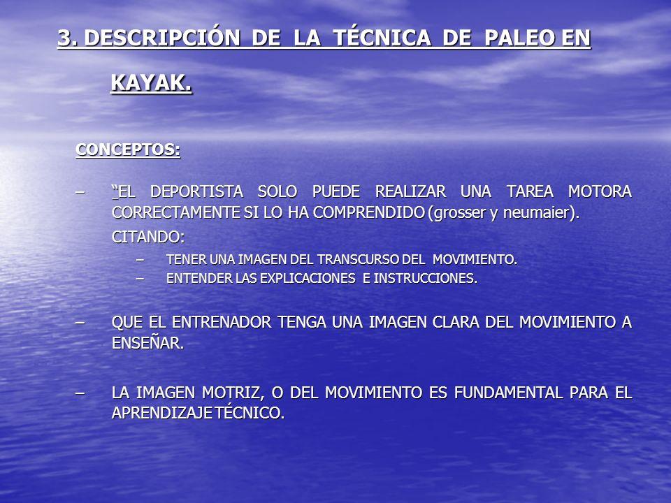 3. DESCRIPCIÓN DE LA TÉCNICA DE PALEO EN KAYAK. CONCEPTOS: –EL DEPORTISTA SOLO PUEDE REALIZAR UNA TAREA MOTORA CORRECTAMENTE SI LO HA COMPRENDIDO (gro