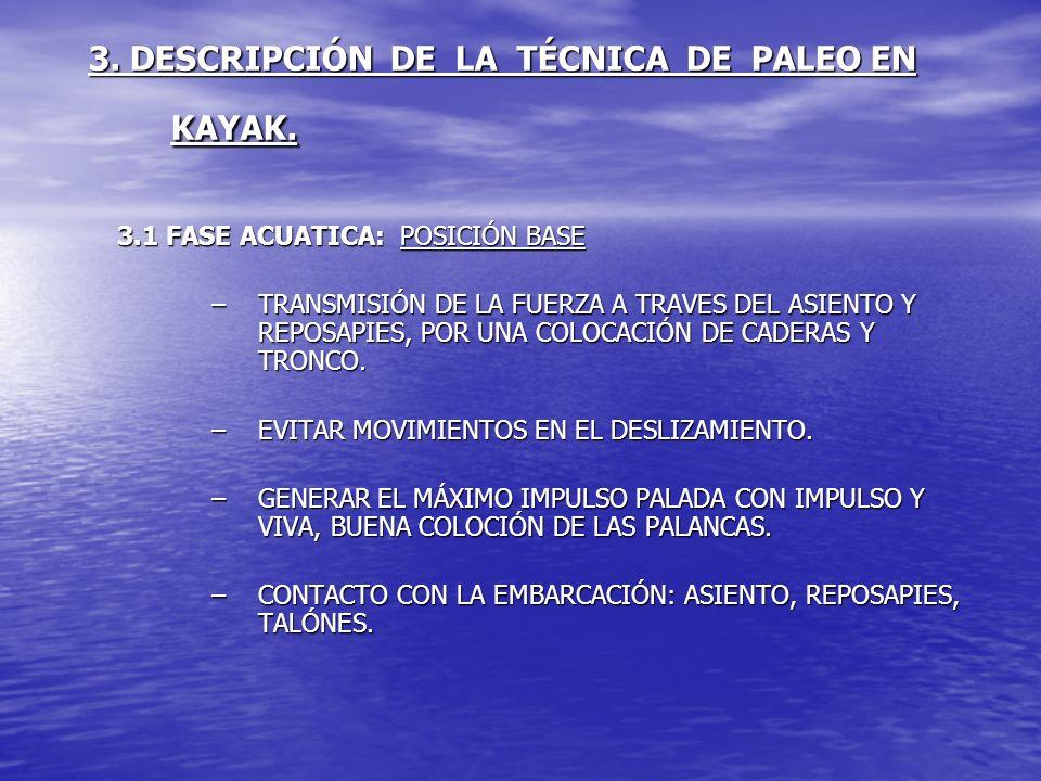 3. DESCRIPCIÓN DE LA TÉCNICA DE PALEO EN KAYAK. 3.1 FASE ACUATICA: POSICIÓN BASE –TRANSMISIÓN DE LA FUERZA A TRAVES DEL ASIENTO Y REPOSAPIES, POR UNA