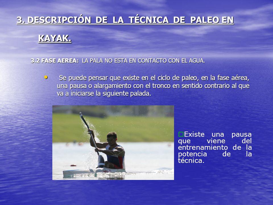3. DESCRIPCIÓN DE LA TÉCNICA DE PALEO EN KAYAK. 3.2 FASE AEREA: LA PALA NO ESTA EN CONTACTO CON EL AGUA. Se puede pensar que existe en el ciclo de pal