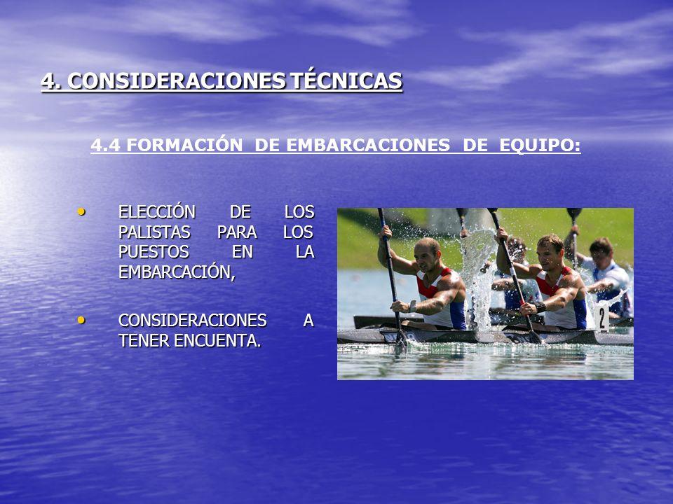 4. CONSIDERACIONES TÉCNICAS ELECCIÓN DE LOS PALISTAS PARA LOS PUESTOS EN LA EMBARCACIÓN, ELECCIÓN DE LOS PALISTAS PARA LOS PUESTOS EN LA EMBARCACIÓN,