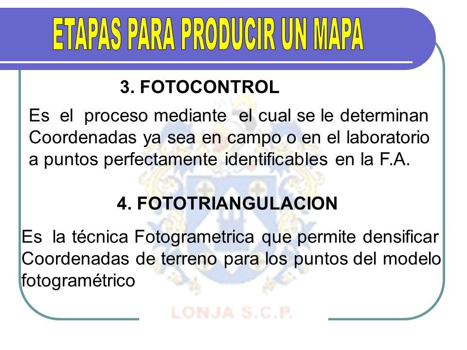 3. FOTOCONTROL Es el proceso mediante el cual se le determinan Coordenadas ya sea en campo o en el laboratorio a puntos perfectamente identificables e