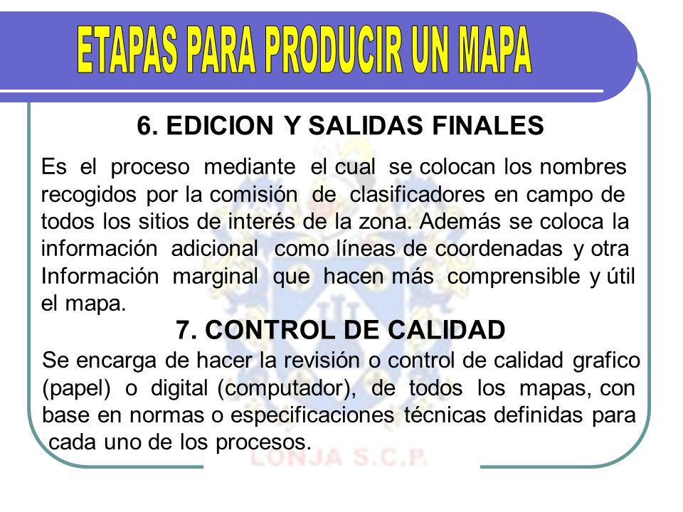 6. EDICION Y SALIDAS FINALES Es el proceso mediante el cual se colocan los nombres recogidos por la comisión de clasificadores en campo de todos los s