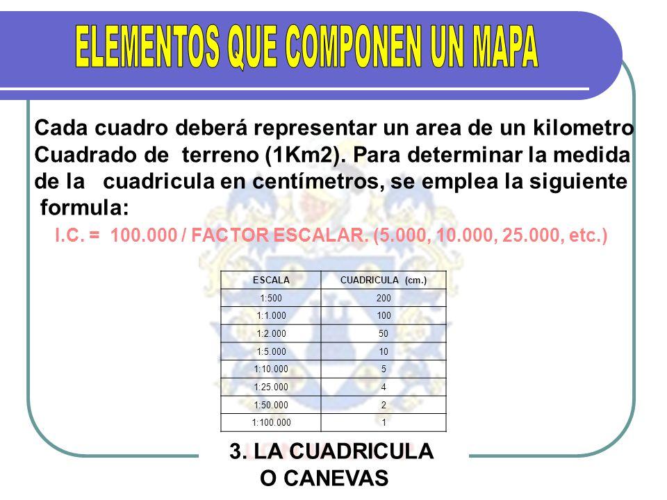 O CANEVAS Cada cuadro deberá representar un area de un kilometro Cuadrado de terreno (1Km2). Para determinar la medida de la cuadricula en centímetros