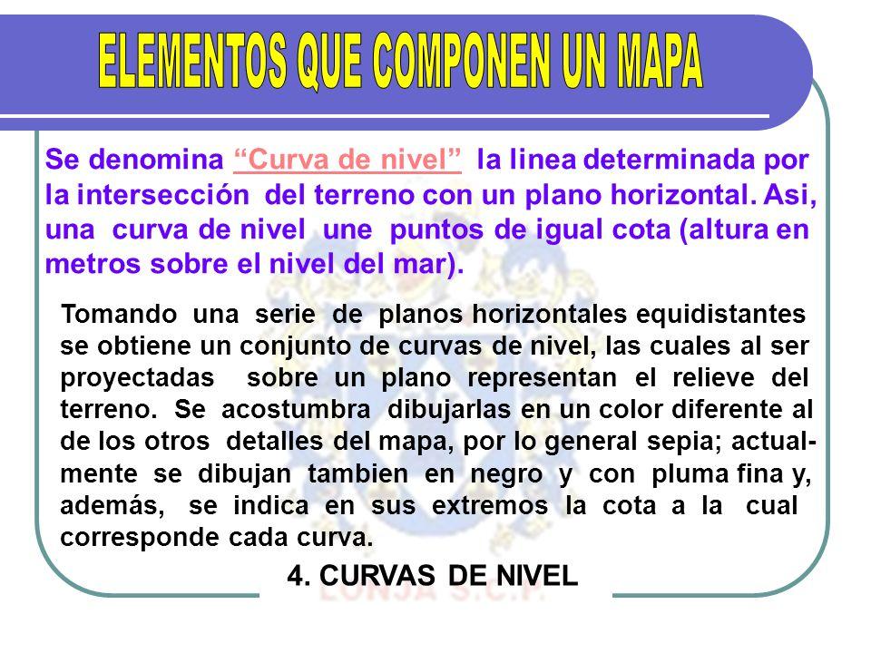 Se denomina Curva de nivel la linea determinada por la intersección del terreno con un plano horizontal. Asi, una curva de nivel une puntos de igual c